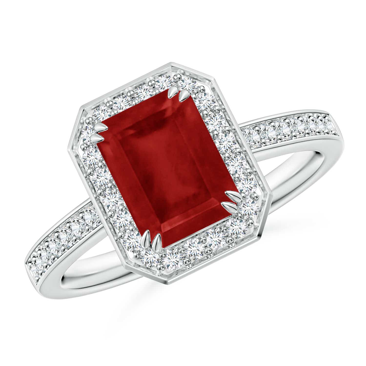 Emerald Cut Ruby Engagement Ring With Diamond Halo Angara Uk