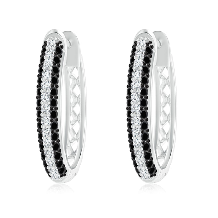 Pave Set White And Black Diamond Hoop Earrings Angara Canada