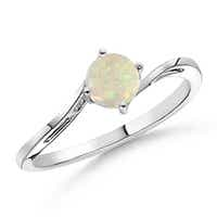 Classic Twist Shank Round Solitaire Opal Ring