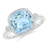 Bezel Set Cushion Aquamarine Ring with Milgrain Detailing