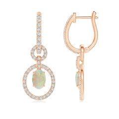 Floating Oval Opal Dangle Hoop Earrings with Diamonds