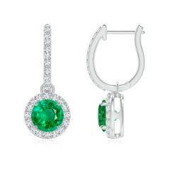 Round Emerald Dangle Earrings with Diamond Halo