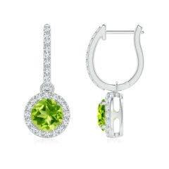 Round Peridot Dangle Earrings with Diamond Halo