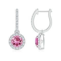 Round Pink Tourmaline Dangle Earrings with Diamond Halo