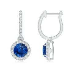 Round Blue Sapphire Dangle Earrings with Diamond Halo
