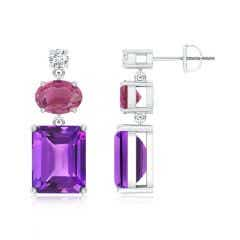 Amethyst, Pink Tourmaline and Diamond Dangle Earrings