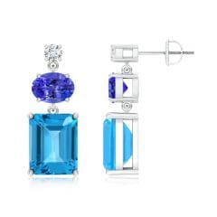 Swiss Blue Topaz, Tanzanite and Diamond Dangle Earrings