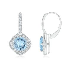 Claw-Set Aquamarine and Diamond Leverback Halo Earrings