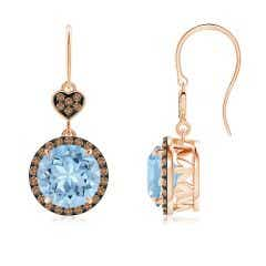 Claw-Set Aquamarine Dangle Earrings with Coffee Diamonds