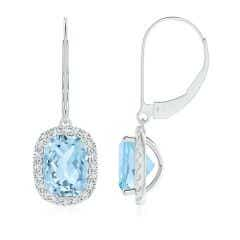 Cushion Aquamarine Leverback Earrings with Diamond Halo