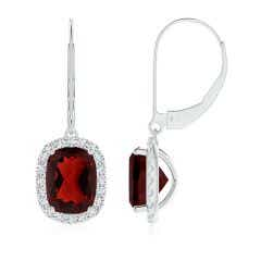 Cushion Garnet Leverback Earrings with Diamond Halo