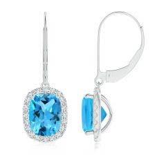 Cushion Swiss Blue Topaz Leverback Earrings with Diamond Halo