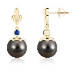Tahitian Cultured Pearl & Sapphire Pear Motif Earrings