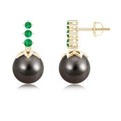Tahitian Cultured Pearl Earrings with Graduated Emerald