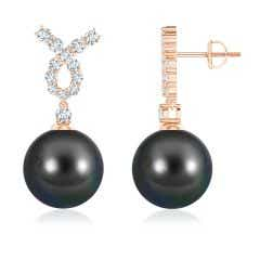 Tahitian Cultured Pearl Earrings with Diamond Ribbon