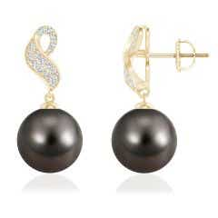 Tahitian Cultured Pearl and Diamond Swirl Earrings
