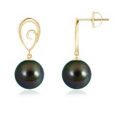 Tahitian Cultured Pearl Drop Earrings with Metal Loop