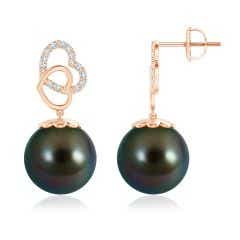 Intertwined Heart Tahitian Cultured Pearl Drop Earrings