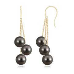 Tahitian Cultured Triple Pearl Cluster Drop Earrings
