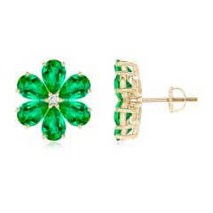 Nature Inspired Emerald & Diamond Flower Earrings