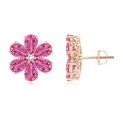 Nature Inspired Pink Sapphire & Diamond Flower Earrings