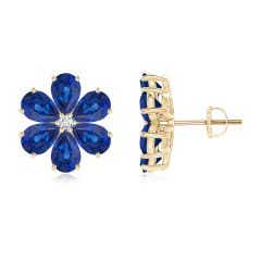 Nature Inspired Blue Sapphire & Diamond Flower Earrings