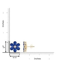 Toggle Nature Inspired Blue Sapphire & Diamond Flower Earrings