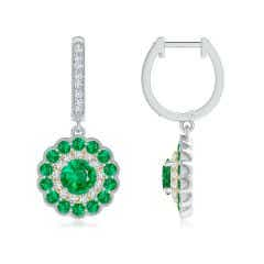 Round Emerald Two Tone Drop Earrings with Double Halo