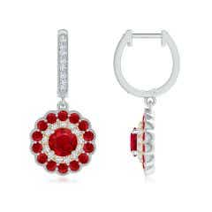 Round Ruby Two Tone Drop Earrings with Double Halo