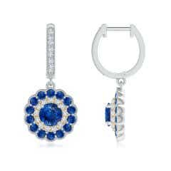Round Sapphire Two Tone Drop Earrings with Double Halo