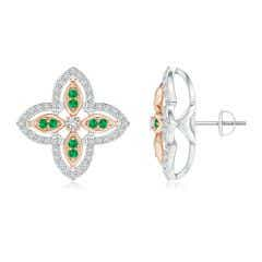 Diamond & Emerald Halo Two Tone Floral Earrings