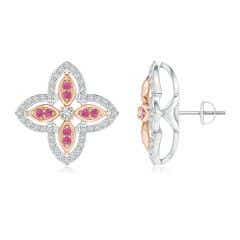 Diamond & Pink Sapphire Halo Two Tone Floral Earrings