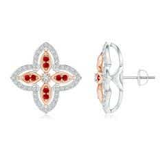 Diamond & Ruby Double Halo Two Tone Floral Earrings