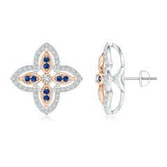 Diamond & Sapphire Halo Two Tone Floral Earrings