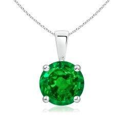 Classic Round Emerald Solitaire Pendant