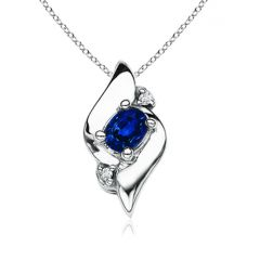 Shell Style Oval Sapphire and Diamond Pendant