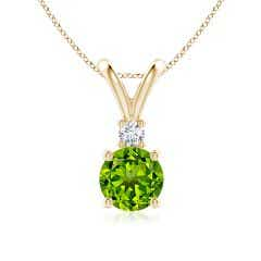 Round Peridot Solitaire V-Bale Pendant with Diamond