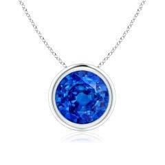 Bezel-Set Round Blue Sapphire Solitaire Pendant