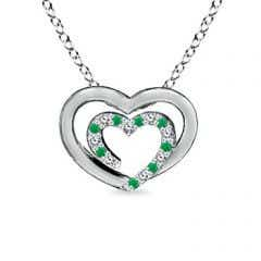Diamond and Emerald Double Heart Necklace