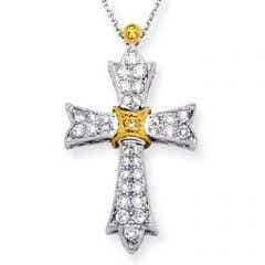 Victorian Style Diamond Cross Pendant in Two Tone Gold