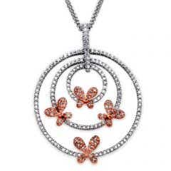 Scattered Butterfly Diamond Concentric Circle Pendant