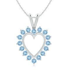 Aquamarine Open Heart V-Bale Pendant