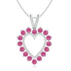 Pink Sapphire Open Heart V-Bale Pendant