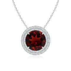Claw-Set Round Garnet Pendant with Diamond Double Halo