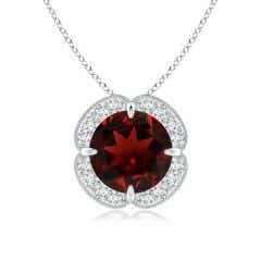 Claw-Set Garnet Clover Pendant with Diamond Halo