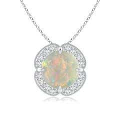 Claw-Set Opal Clover Pendant with Diamond Halo