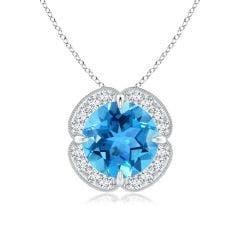 Claw-Set Swiss Blue Topaz Clover Pendant with Diamond Halo