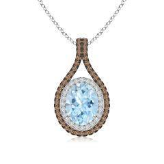 Oval Aquamarine Loop Pendant with Coffee & White Diamonds