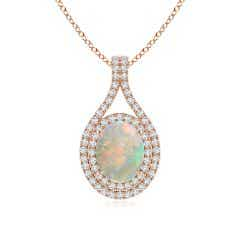 Oval Opal Double Halo Loop Pendant