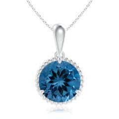 Rope-Framed GIA Certified London Blue Topaz Solitaire Pendant